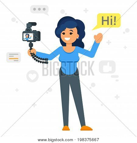 Vector flat style illustration of happy blogger girl. Handsome woman records video blog. Vlog concept.