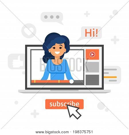 Vector flat style illustration of happy blogger girl in a laptop. Vlog concept.