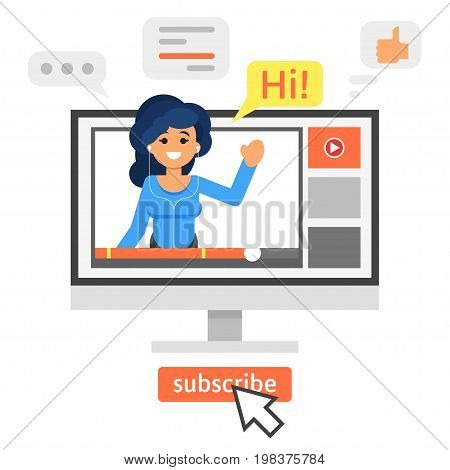 Vector flat style illustration of happy blogger girl. Vlog concept.