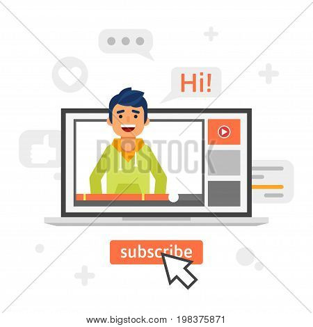 Vector flat style illustration of happy blogger man in a laptop. Vlog concept.