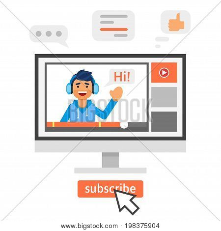 Vector flat style illustration of happy blogger man. Vlog concept.