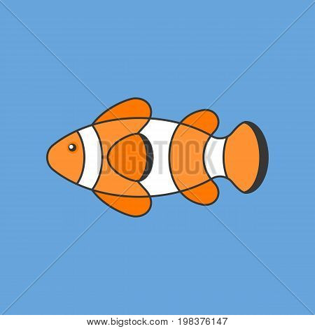 clown fish, outline icon with filled color