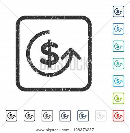 Chargeback rubber watermark in some color versions.. Vector pictogram symbol inside rounded rectangular frame with grunge design and dirty texture. Stamp seal illustration, unclean emblem.