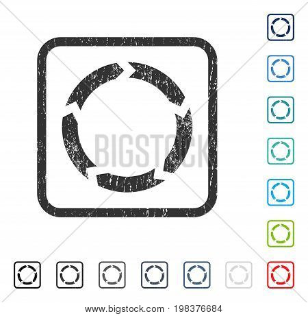 Circulation rubber watermark in some color versions.. Vector icon symbol inside rounded rectangular frame with grunge design and dirty texture. Stamp seal illustration, unclean sign.