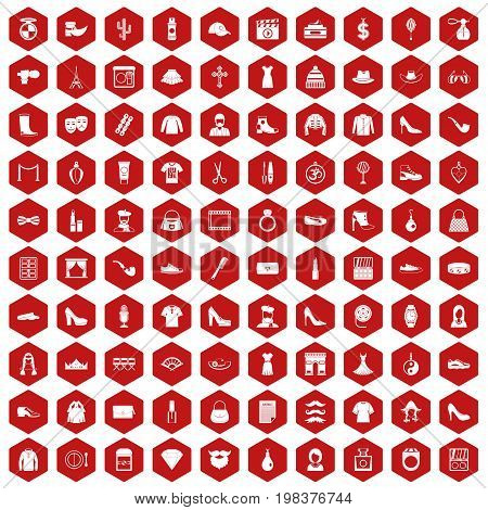 100 stylist icons set in red hexagon isolated vector illustration