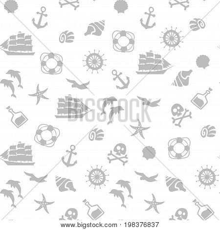 Vector flat style seamless pirate monochrome pattern.