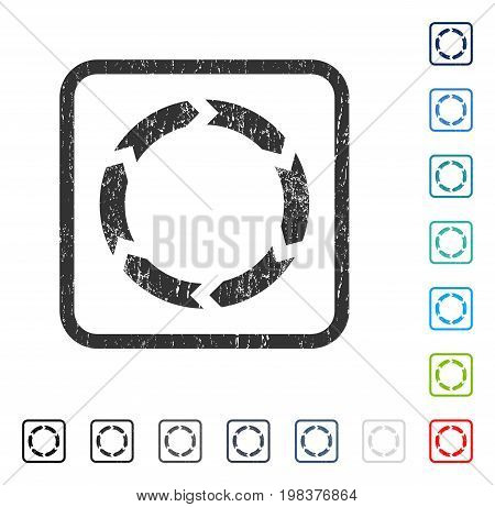 Circulation rubber watermark in some color versions.. Vector pictogram symbol inside rounded rectangle with grunge design and scratched texture. Stamp seal illustration, unclean sign.
