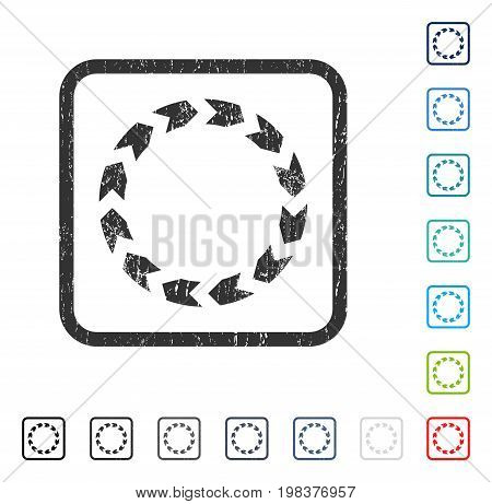 Circulation rubber watermark in some color versions.. Vector icon symbol inside rounded rectangular frame with grunge design and scratched texture. Stamp seal illustration, unclean sign.