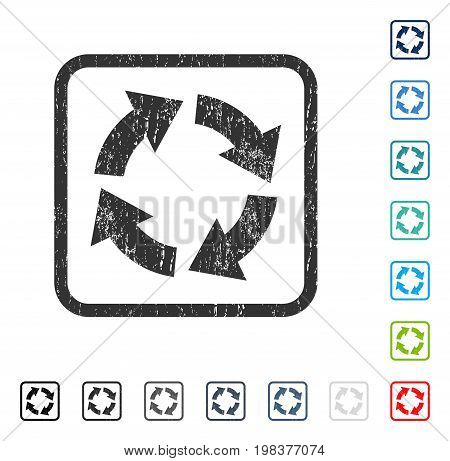 Circulation rubber watermark in some color versions.. Vector pictogram symbol inside rounded rectangular frame with grunge design and scratched texture. Stamp seal illustration, unclean emblem.