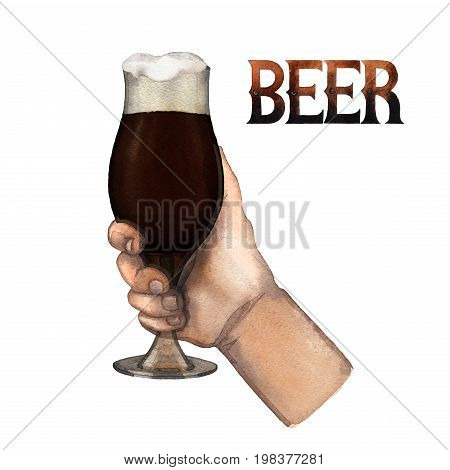 Watercolor hand holding tulip shaped glass of dark beer. Hand painted illustration isolated on white background