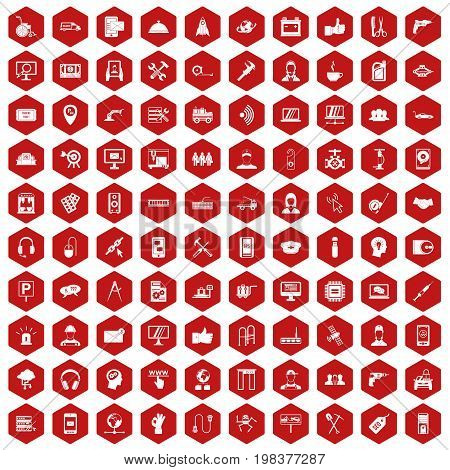 100 support center icons set in red hexagon isolated vector illustration