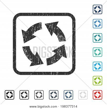 Circulation rubber watermark in some color versions.. Vector pictogram symbol inside rounded rectangular frame with grunge design and dust texture. Stamp seal illustration, unclean sign.