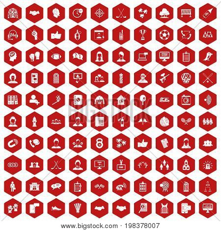 100 team icons set in red hexagon isolated vector illustration