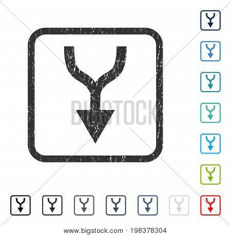 Combine Arrow Down rubber watermark in some color versions.. Vector icon symbol inside rounded rectangular frame with grunge design and unclean texture. Stamp seal illustration, unclean emblem.
