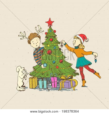Little kids boy and girl decorate a Christmas tree with funny puppy. Presents under tree Vintage cartoon line art style. Hand drawn illustration.