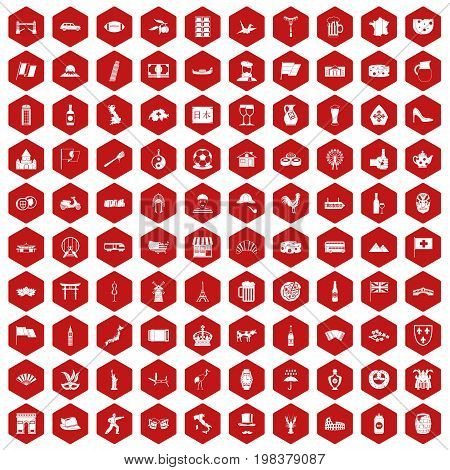 100 tourist attractions icons set in red hexagon isolated vector illustration
