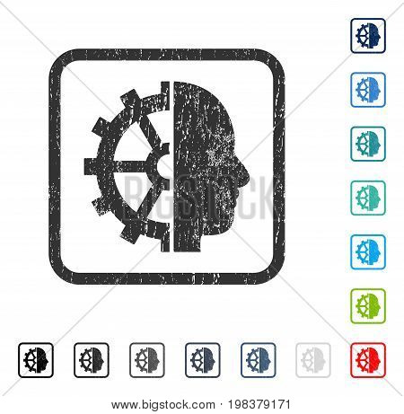 Cyborg Gear rubber watermark in some color versions.. Vector pictogram symbol inside rounded rectangle with grunge design and dust texture. Stamp seal illustration, unclean emblem.