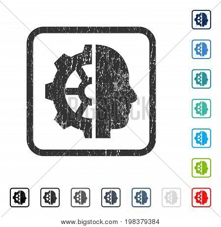 Cyborg Gear rubber watermark in some color versions.. Vector icon symbol inside rounded rectangle with grunge design and dirty texture. Stamp seal illustration, unclean sticker.