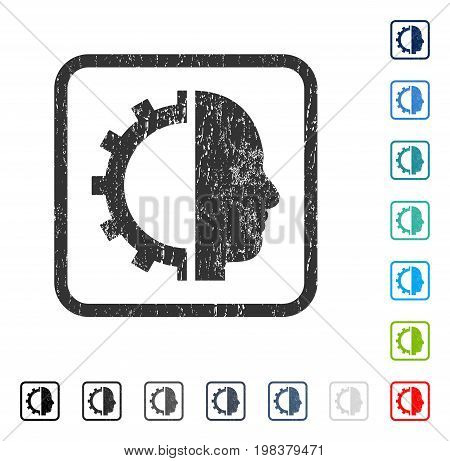 Cyborg Gear rubber watermark in some color versions.. Vector icon symbol inside rounded rectangular frame with grunge design and dust texture. Stamp seal illustration, unclean emblem.