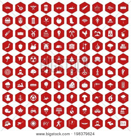 100 tree icons set in red hexagon isolated vector illustration