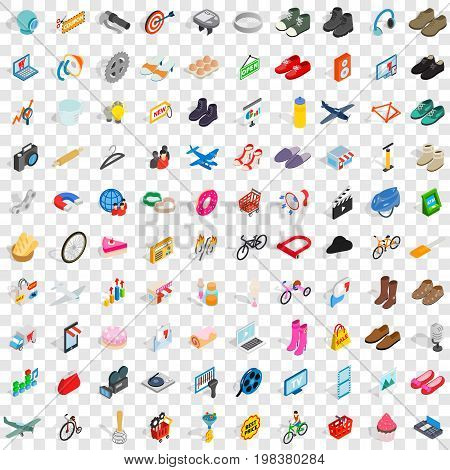 100 online shopping icons set in isometric 3d style for any design vector illustration