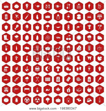 100 vegetables icons set in red hexagon isolated vector illustration