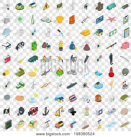 100 painful icons set in isometric 3d style for any design vector illustration