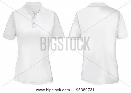 White Polo Shirt Template for Woman  Isolated on White