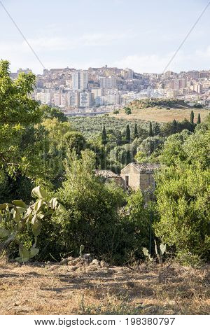 Residential houses of Agrigento - View of city - Sicily Italy - May 22nd 2017