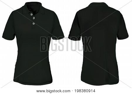 Black Polo Shirt Template for Woman Isolated on White