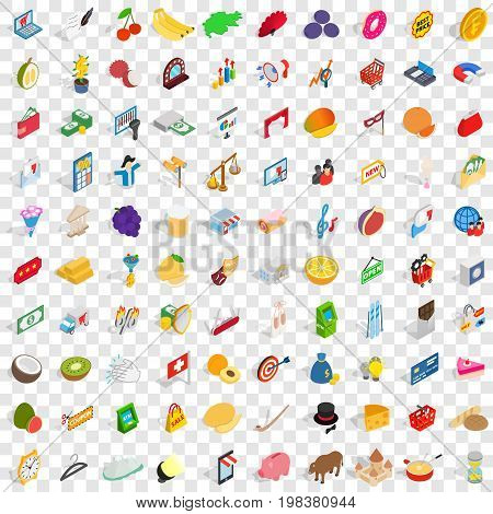 100 paying money icons set in isometric 3d style for any design vector illustration