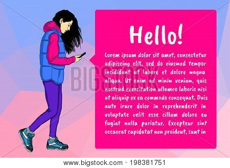 Woman traveler holding mobile phone and looking at it. Full length of traveler with mobile phone. Traveler using mobile phone. Set of vector flat design illustrations isolated on white background.
