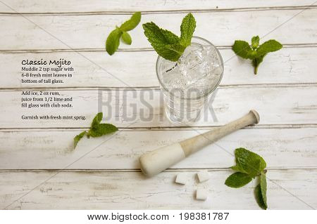 Classic Mojito Cocktail  With Fresh Mint Sprigs And Recipe