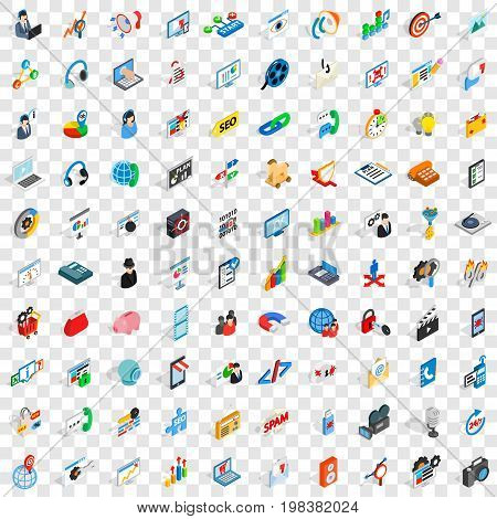 100 post and mail icons set in isometric 3d style for any design vector illustration