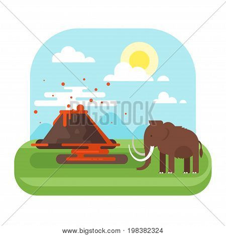 Vector flat style illustration of prehistoric landscape mountains and volcano with mammoth. Isolated on white background.