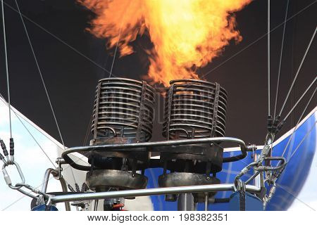Close-up gas burner of Hot air balloon with flame