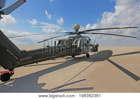 russian attack helicopter Mi 28 armed with rockets bombs guns and able to fight day and night