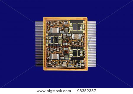 Large integrated circuit for operation at microwave frequencies. The housing cover is removed.