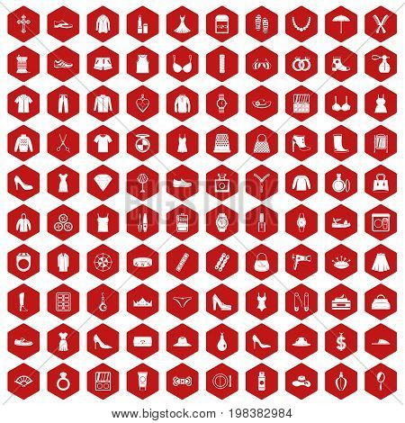 100 womens accessories icons set in red hexagon isolated vector illustration