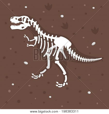 Vector flat style illustration of dinosaur skeleton in the ground. Prehistoric predator - Tyrannosaurus Rex.