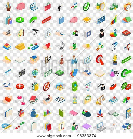 100 right icons set in isometric 3d style for any design vector illustration