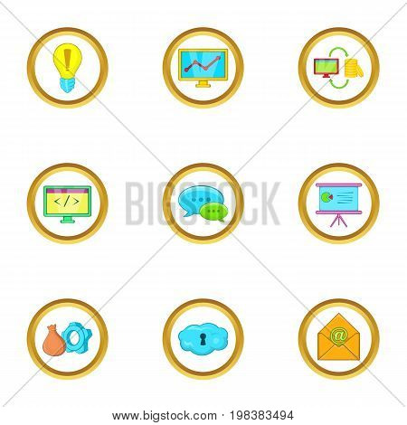 Business idea icons set. Cartoon set of 9 business idea vector icons for web isolated on white background