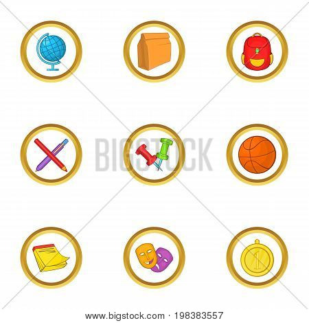 School lessons icons set. Cartoon set of 9 school lessons vector icons for web isolated on white background