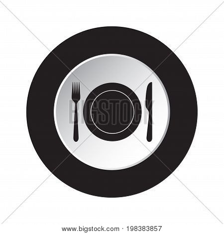 round isolated black and white button - black cutlery fork and knife with plate icon