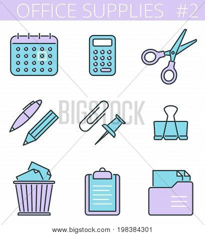 Office supplies and stationery outline icons: pen, pencil, calendar, calculator, scissors. Vector thin line business, education symbol set. Infographic colorful signs for web, presentations, network.