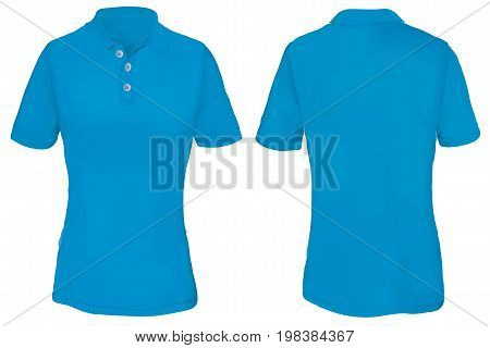 Blue Polo Shirt Template for Woman  Isolated on White