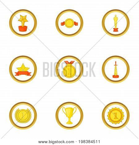 Victory icons set. Cartoon set of 9 victory vector icons for web isolated on white background