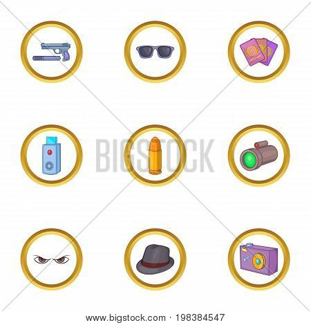 Secret agent icons set. Cartoon set of 9 secret agent vector icons for web isolated on white background