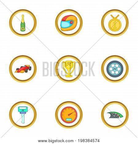 Car championship icons set. Cartoon set of 9 car championship vector icons for web isolated on white background