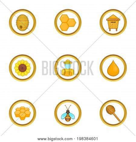 Beekeeper equipment icons set. Cartoon set of 9 beekeeper equipment vector icons for web isolated on white background